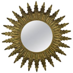 Gilt Metal Sunburst Mirror with Radiating Leaves