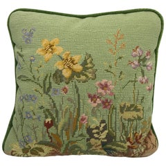 1950s Green Needlepoint Pillow with Floral Motif