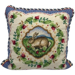 1960s, Blue and White Needlepoint Pillow with Floral and Rabbit-Hare Motif