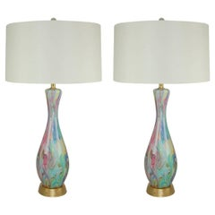 Multicolored Swirled Murano Lamps by Fratelli Toso