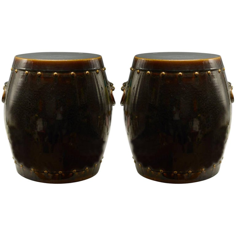 Pair of Dark Brown Porcelain Stools