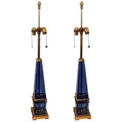 Mid-Century Modern Pair Murano Blue Art Glass Brass Bronze Obelisk Marbro Lamps