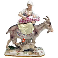 Meissen Wife of Tailor Riding on Goat Model 155 Eberlein Kaendler, circa 1860
