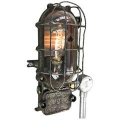 1960s, British Made Oval Black Iron Explosion Proof Bulkhead Light-Edison Bulb