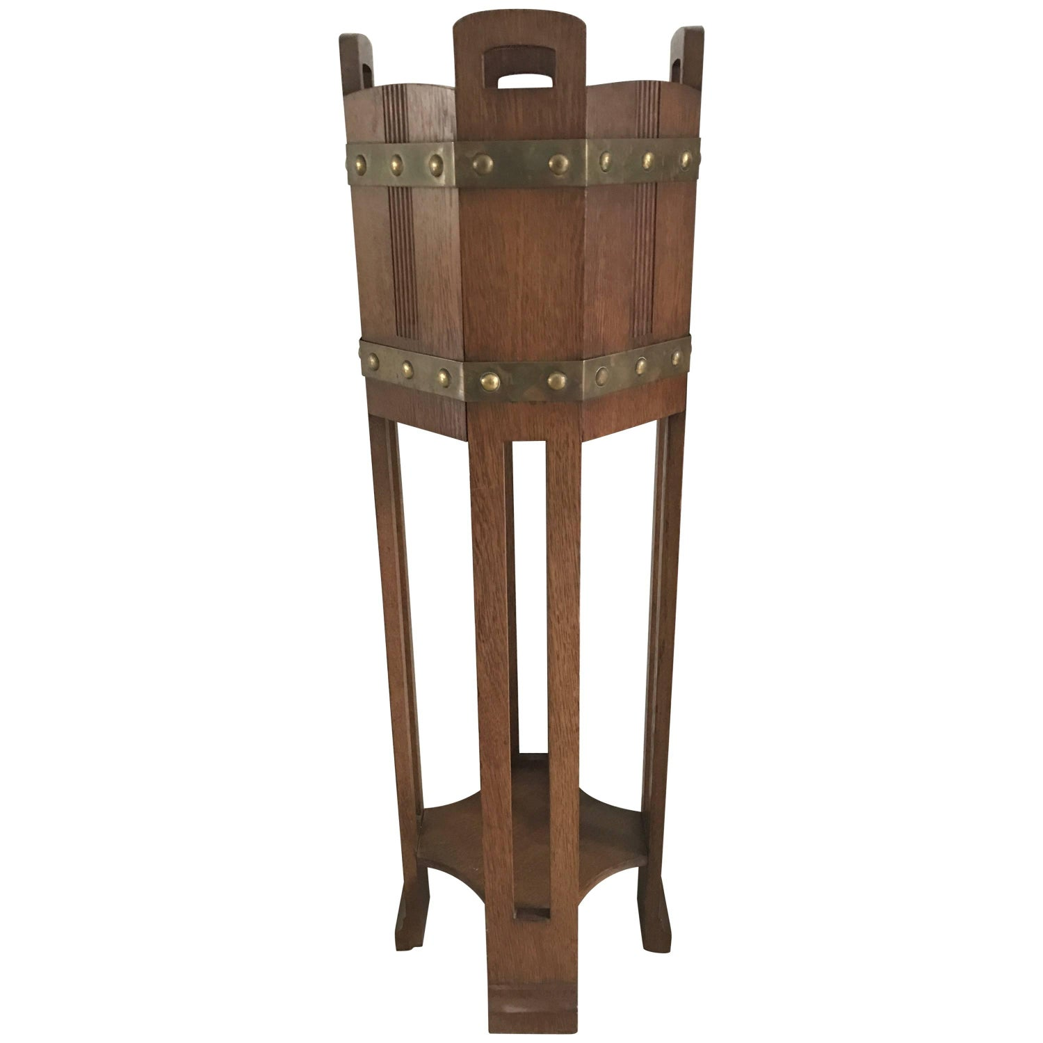 Arts and crafts oak jardiniere plant stand with copper bands for arts and crafts oak jardiniere plant stand with copper bands for sale at 1stdibs reviewsmspy