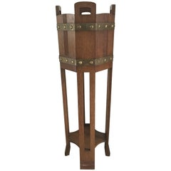 Arts and Crafts Oak Jardiniere Plant Stand with Copper Bands