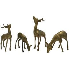1960s Brass Deer Sculptures, Set of Four