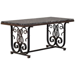 Vintage French Art Nouveau Iron and Marble Coffee Table, circa 1920