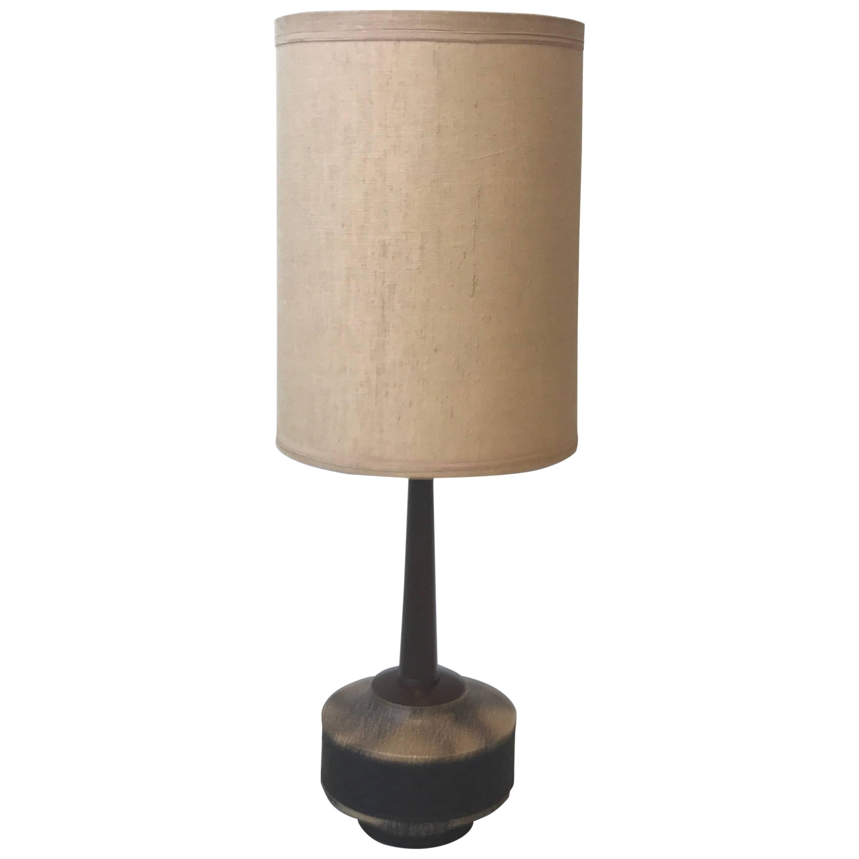 Teak Table Light, Large Danish Teak Lamp Stand, 1960S, Vintage