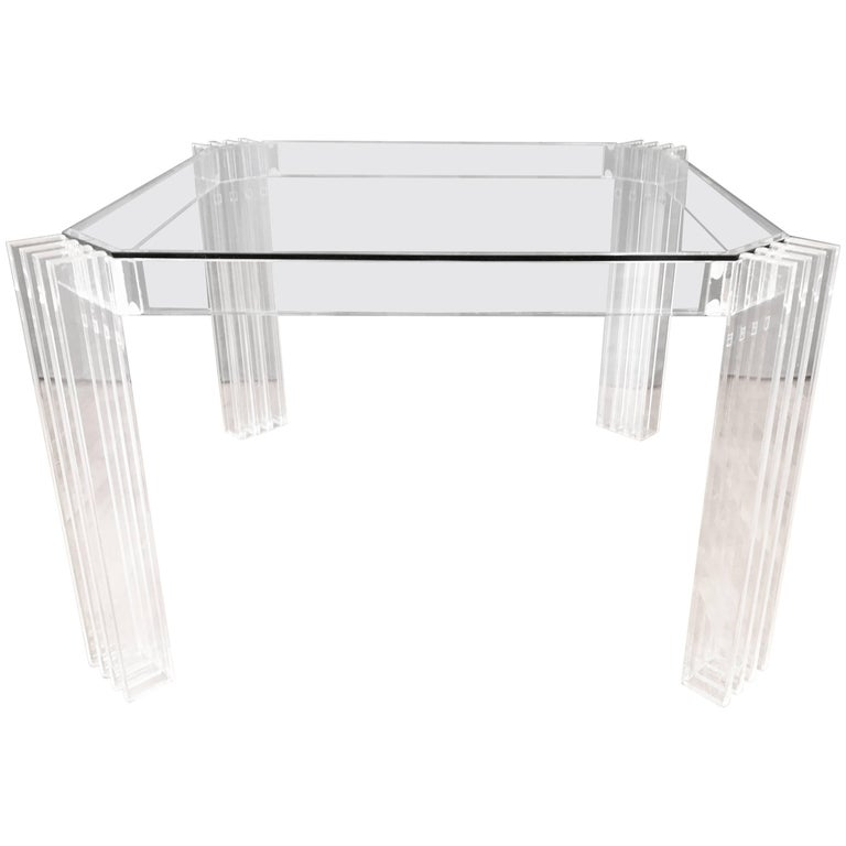 "Mid Century Modern Charles Hollis Jones Lucite Small: ""Pole And Truss"" Dining Table By Charles Hollis Jones For"