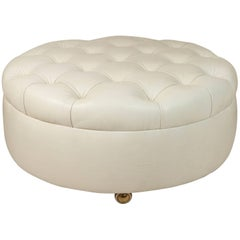 Leather Tufted French, 1960s Ottoman