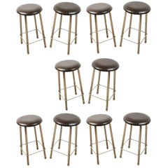 Ten Leather and Chrome Vintage Counter Stools