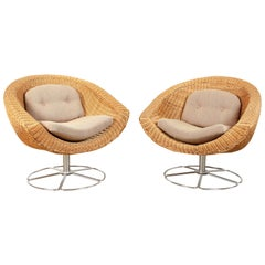 Pair of Vintage Wicker Swivel Chairs