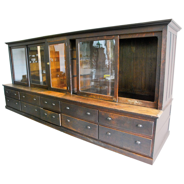 19th century large store display storage cabinet