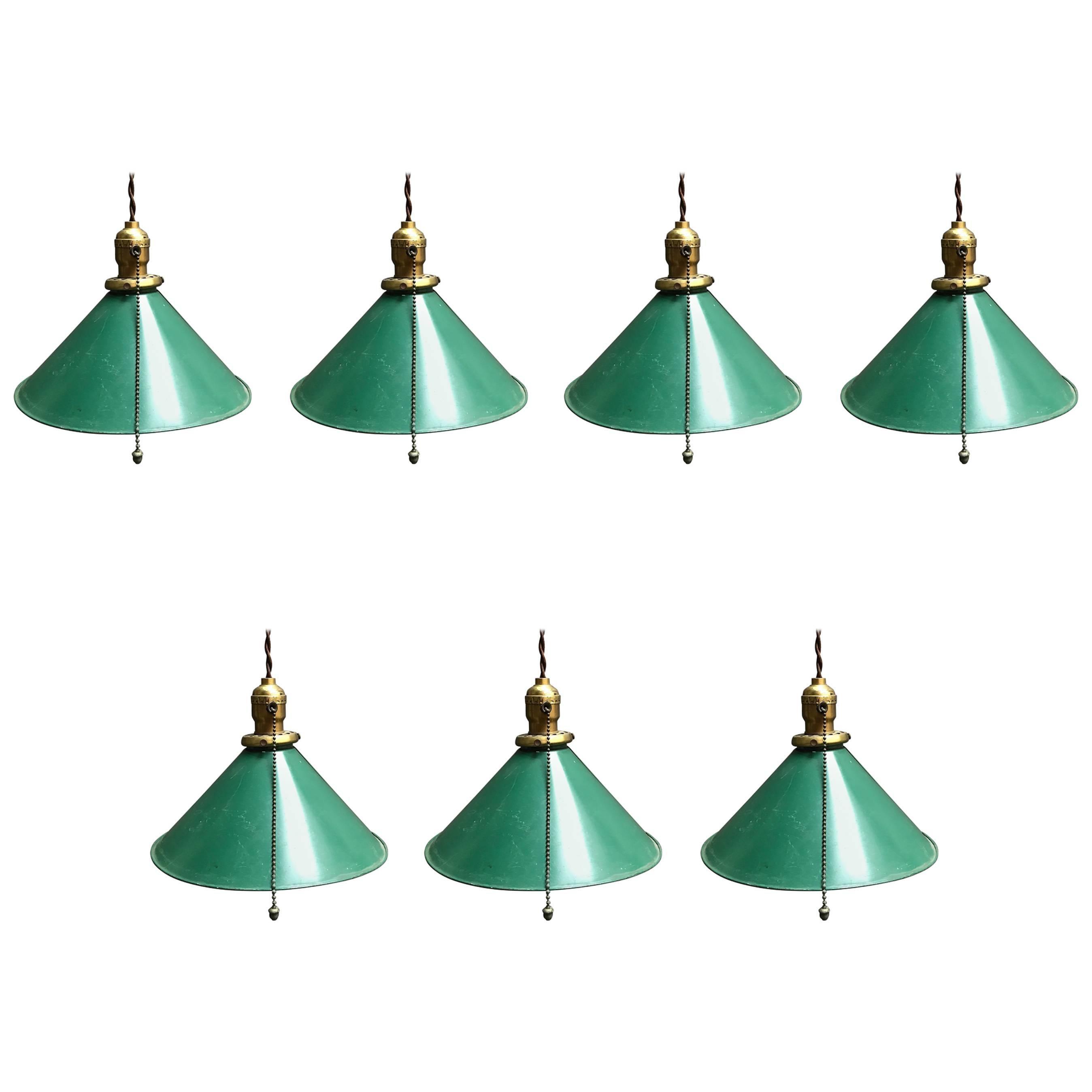 Industrial Green Enamel Steel Cone Factory Pendant Lights