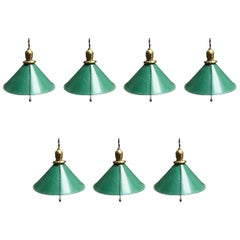 Industrial 1940s, Green Enamel Tin Cone Factory Pendant Lights