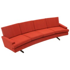 Curved Sofa by Frederick Kayser Restored Redone in Rich Red Knoll Cuddle Cloth