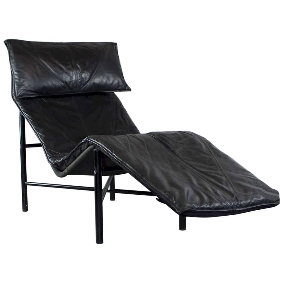 Tord Bjorklund Chaise Longue in Black Leather, Sweden 1970s
