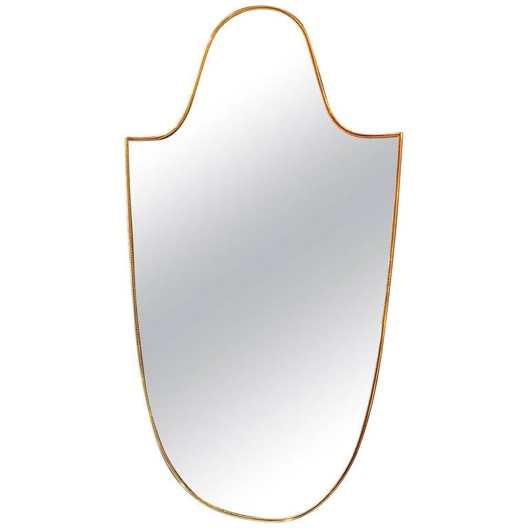 "Vintage 1960s Italian ""Scudo"" Long Mirror in Brass Trim"