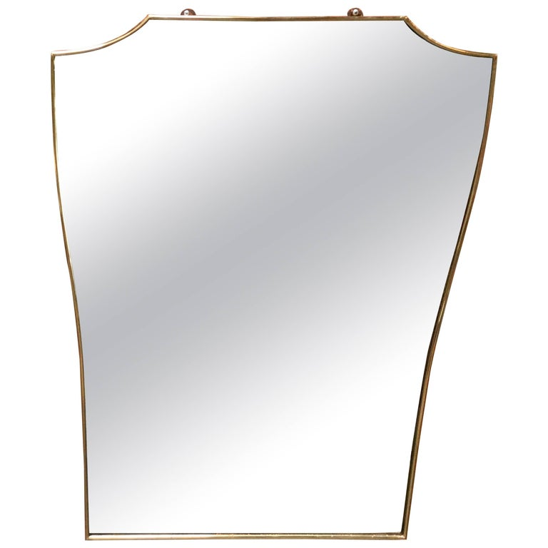 Vintage 1960s Italian Mirror with Brass Frame For Sale