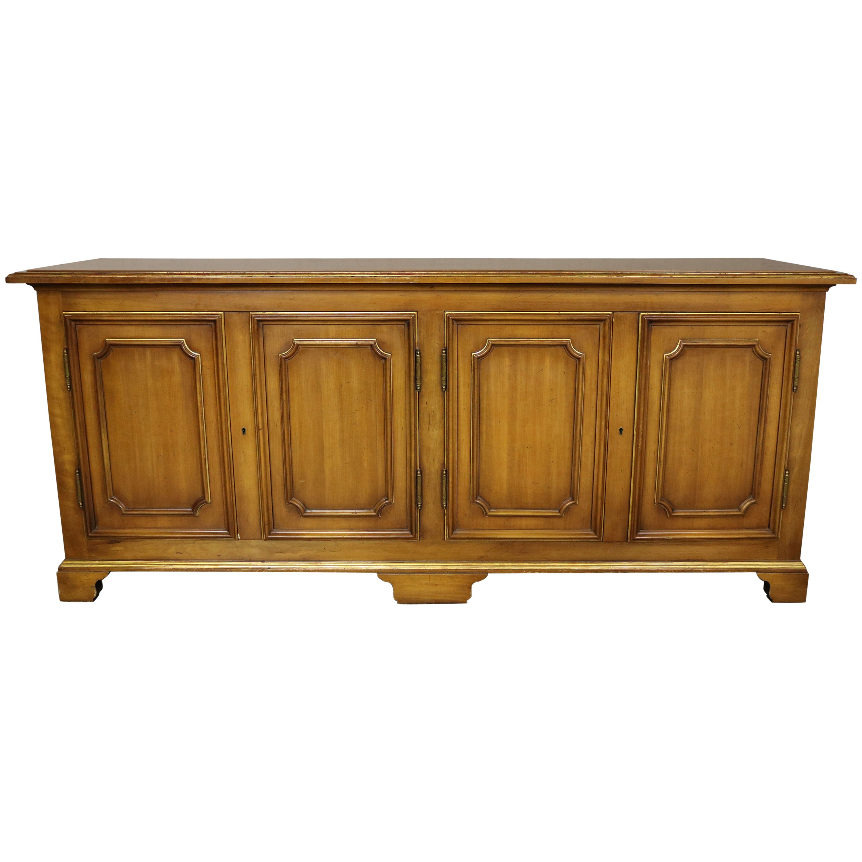 John Widdicomb Painted Hollywood Regency Buffet Credenza with Gilt Accents