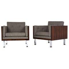 Pair of Midcentury Jydsk Mobelvaerk Rosewood Cube Lounge Chairs