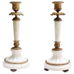 Pair of Antique French Louis XVI-Style Gilded Marble Candlesticks