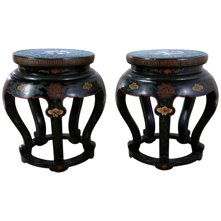Chinese Cloisonné and Black Lacquered Round Stools or Side Tables For Sale
