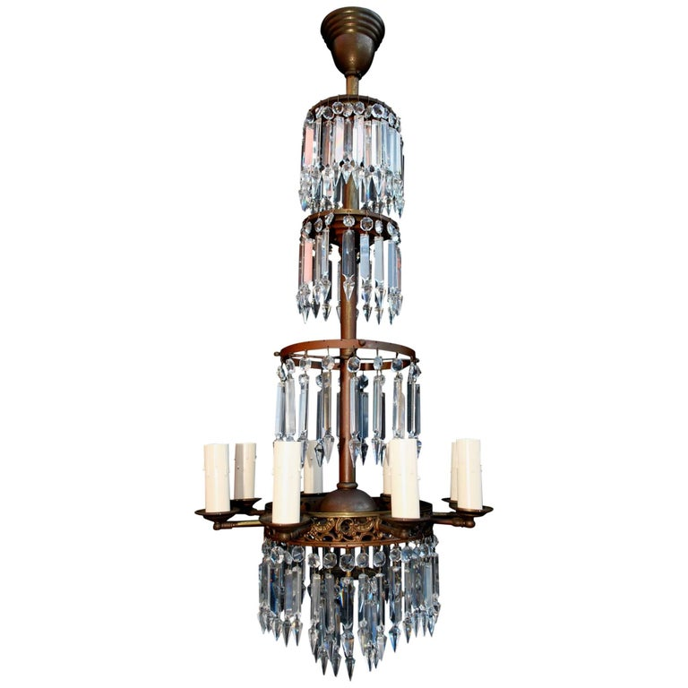 Beautiful and Elegant 1920s Crystal Chandelier