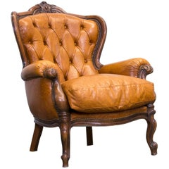 Chesterfield Leather Armchair Cognac Brown One-Seat Couch Wood Retro Vintage
