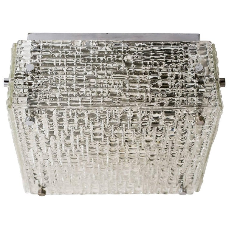 Mid-Century Flush Mount with Textured Glass by Kaiser Leuchten