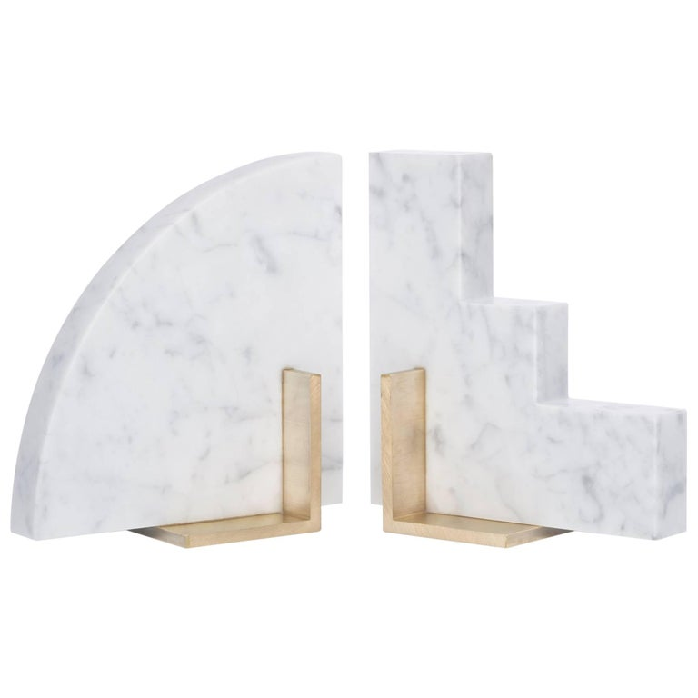 Odd Couple Bookends in Carrara Marble For Sale
