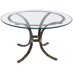 Maison Jansen, Pedestal Table, Bamboo and Gilded Brass, circa 1970, France