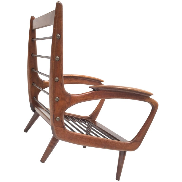 Stunning Dutch De Ster 1950s Organic Carved Walnut Stained Birch Lounge Chair 1