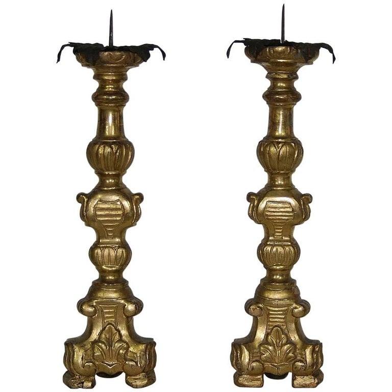18th Century, Italian Baroque Giltwood Candlesticks