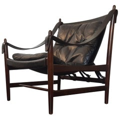 1960s Danish Produced Safari Chair in Leather and Mahogany