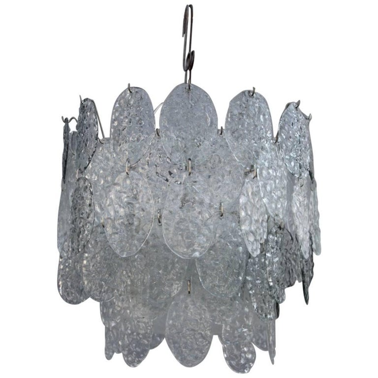 Vistosi Italian Mid-Century Chandelier Murano Art Glass 1960