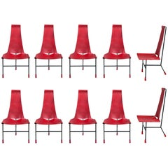 Set of Ten Dan Wenger Tripod Dining Chairs