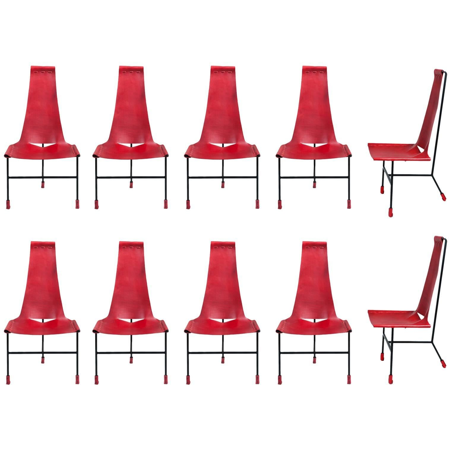Set Of Ten Dan Wenger Tripod Dining Chairs 1