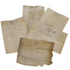 Collection of Five French 18th Century Vellum Handwritings