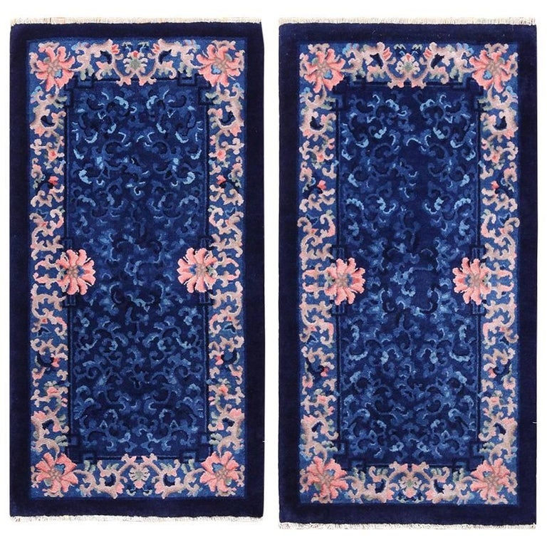 Antique Chinese Rug: Pair Of Blue Antique Chinese Rugs For Sale At 1stdibs