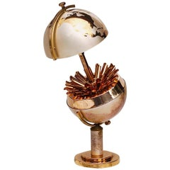 Mid-20th Century Steel and Brass Globe Cigarette Holder