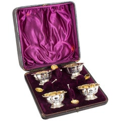 Antique Victorian Set of Four Silver Gilt Salts with Spoons, 1897