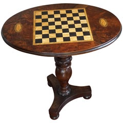 Antique Nutwood and Burl Nutwood Tilt-Top Chess Table with Nautilus Shell Inlay