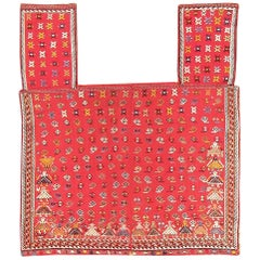 Red Tribal Antique Persian Qashqai Horse Cover. Size: 4 ft 9 in x 5 ft 6 in
