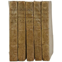 Great Collection of Five Italian Very Large 18th Century Weathered Vellum Books