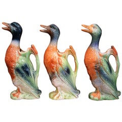 Early 20th Century French Painted Barbotine Duck Sculpture Pitchers, Set of 3