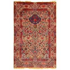 Antique Metallic Threading Silk Souf Kashan Persian Rug