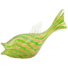 Gold Flecks Acid Green & Cream Ribbons Murano Art Glass Fish Figure, Italy 1940s