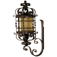 French Forged Iron Wall Lantern, Glass Shade, circa 1940